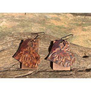 Copper Fire Patina Embellished Earring